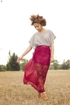 brick red lace maxi Forever 21 skirt