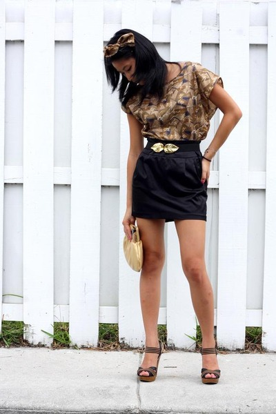 black silk skirt Forever 21 skirt - brown heels Charlotte Russe shoes