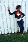 Red-f21-blazer-blue-f21-jeans-red-bamboo-shoes-white-f21-shirt-white-for