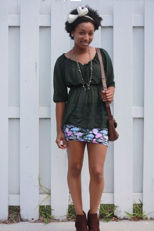 green H&M shirt - pink Forever 21 skirt - brown payless boots - brown DKNY purse