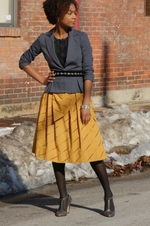 Anthropologie skirt - Report Signature shoes - lux uo blazer - vintage belt