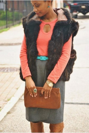 bronze Jessica Simpson boots - salmon saks sweater - turquoise blue thrifted bel