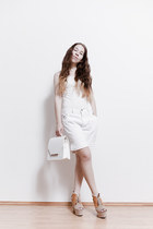 white from Korea bag - white vintage shorts - white from Korea top