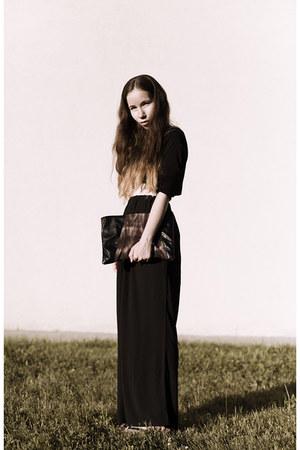 black handmade bag - black chiffon from Korea pants - black cotton H&M top