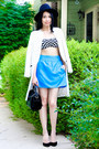 White-zara-coat-black-zara-hat-blue-ocean-blue-zara-skirt