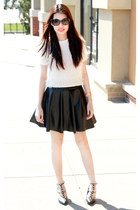 amen skirt - fur cream Design sweater - studded black Charles & Keith heels