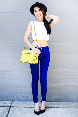 blue Zara jeans - yellow Zara bag - black Zara heels - white Forever 21 top