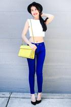 blue Zara jeans - yellow Zara bag - black Zara heels - white Forever 21 top