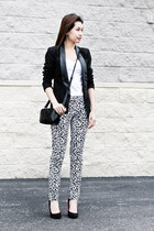 tuxedo leather Miss Selfridge blazer - panthora H&M leggings - verawang bag