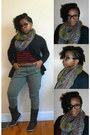 Dark-brown-calf-sketchers-boots-charcoal-gray-tribal-print-scarf