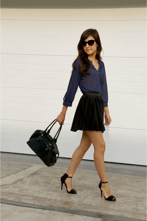 black Zara sandals - navy H&M blouse - black Mango glasses