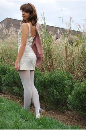 ivory H&M dress - off white free people shoes - peach The Original blazer