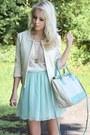 Cream-mango-blazer-aquamarine-primark-skirt