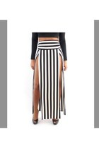 Double Slit Striped Maxi Skirt