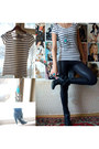 Ankle-aldo-boots-bershka-leggings-stripes-h-m-t-shirt