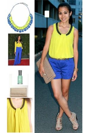 yellow rachel roy shirt - blue Mossimo shorts