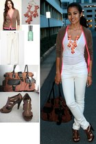 white Mango shirt - brown Jessica Simpson shoes - brown Urban Outfitetrs bag