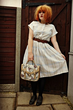 light blue tea dress vintage dress - dark brown brogues Primark shoes