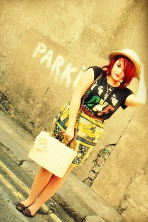 vintage skirt - Newlook shoes - Newlook hat - Primark bag - Topshop top