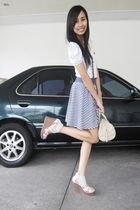 gray mathews shoes - blue Stripes Zara skirt - white Zara top - beige Lacoste