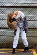 crop top The Lot top - gray boyfriend jeans jeans - light blue thrifted jumper