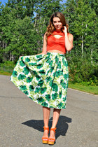 cropped Self Made shirt - midi Self Made skirt - just fab wedges