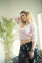 light pink baby pink versace sweater - black TheHutcom leggings