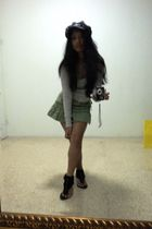 gray next hat - gray Billabong top - green Topshop skirt - black neon shoes - bl