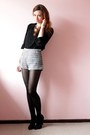 Charcoal-gray-h-m-shorts-black-assymetric-bershka-heels