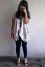 Beige-unknown-shirt-black-unbranded-leggings-blue-next-brown-costum-made-
