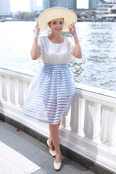 eggshell noname hat - white Thomas Munz shoes - light blue noname skirt