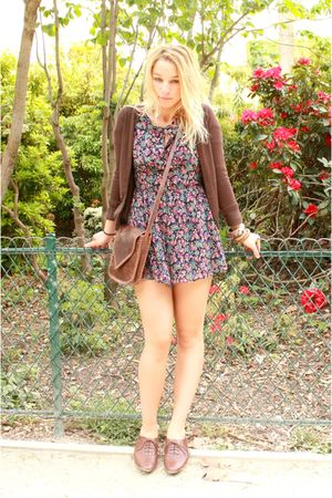 brown Zara jacket - Topshop dress - brown new look shoes - brown Urban Outfitter