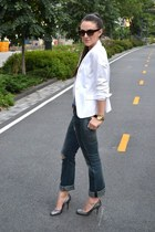 madewell jeans - H&M blazer - JCrew heels - Taylor Morgan bracelet