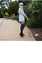 silver Zara blazer - black Forever 21 dress - black Forever 21 shoes