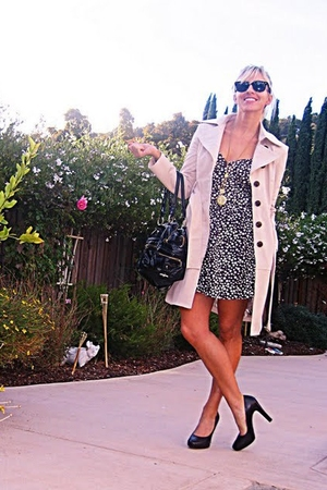 beige trench coat Bebe jacket - brown heels Michael Kors shoes