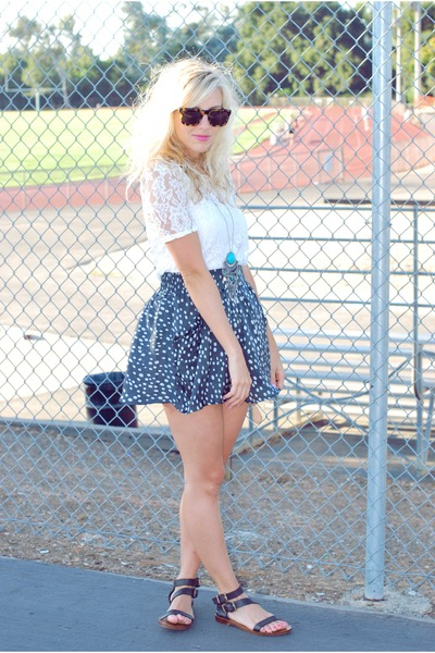 white lace modcloth top - black Zara shoes - blue polka dot Forever 21 skirt