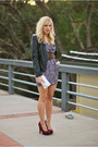 Black-h-m-jacket-blue-modcloth-dress-purple-lulus-shoes-white-vintage-bag-