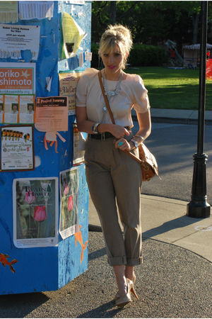 white Urban Outfitters top - brown Zara pants - beige Nine West shoes