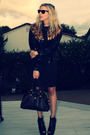 Black-vintage-jacket-zara-dress-bebe-shoes-brown-marc-by-marc-jacobs-acces
