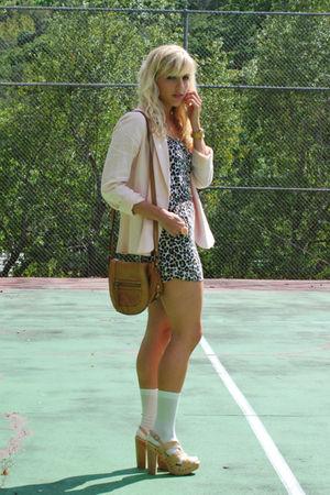 brown H&M top - beige Steve Madden shoes - pink Forever 21 blazer