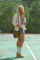 brown H&M top - beige Steve Madden shoes - pink Forever 21 blazer