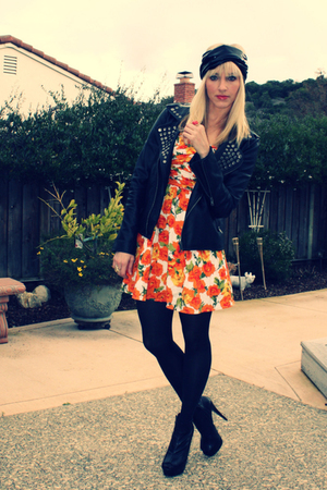 black Urban Outfitters jacket - black Bebe shoes - orange Forever 21 dress - bla