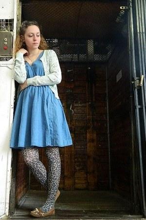 blue asos dress - brown leopard print Accessorize tights