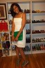 White-laundry-by-shelly-segal-dress-green-old-navy-shoes