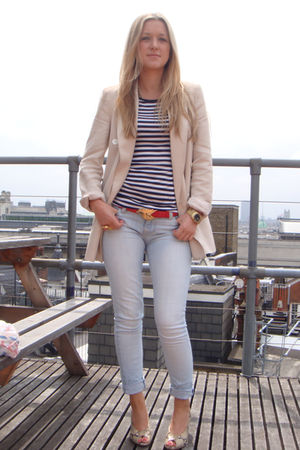 blue Urban Outfitters jeans - blue Topshop t-shirt - beige Office shoes - pink Z
