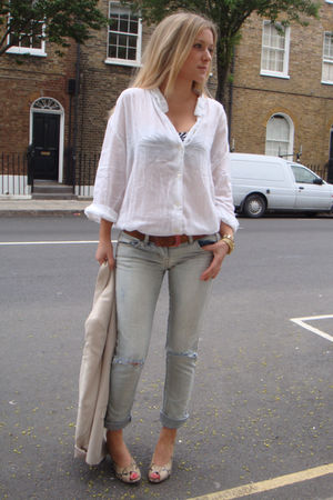 blue sass & bide jeans - white vintage shirt - beige Office shoes - pink Zara bl