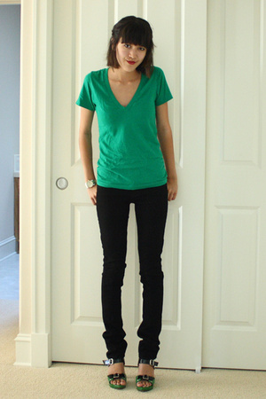 Marni shoes - black J Brand jeans - green American Apparel t-shirt