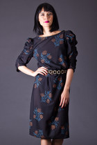 Vintage Sheer Floral Print Dress in Black