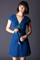 Vintage Denim Wrap Dress