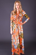 Vintage Sparkling Maxi Dress in Orange & Gold